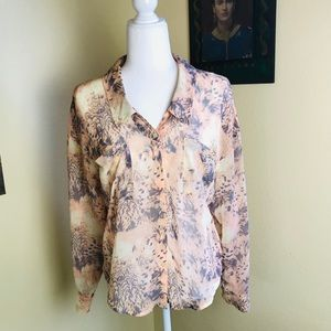 Free people sheer coral & gray patterned button up